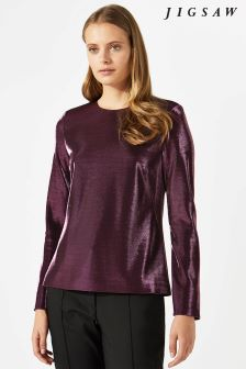 Jigsaw Pink Iridescent Crew Neck Top