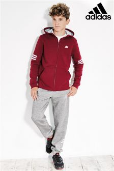 adidas Grey/Burgundy Hooded Tracksuit