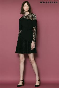 Whistles Black Lois Pleated Lace Dress