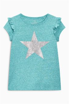 Short Sleeve Glitter Star T-Shirt (3-16yrs)