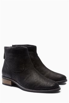 Back Zip Leather Ankle Boots