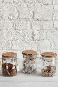 Set Of 3 Glass Clip Top Jars