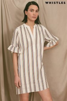 Whistles Cream Margarita Linen Stripe Dress