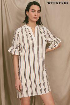 Whistles Cream Margarita Linen Stripe Dress