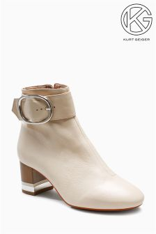 KG Cream Ringo Square Toe Buckle Ankle Boot