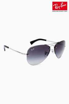 Ray-Ban® Silver Rimless Aviator Sunglasses