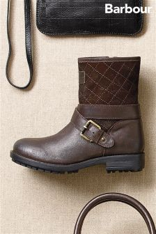 Barbour® Brown Quilted Buckle Ankle Boot