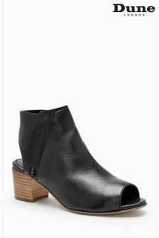 Dune Black Leather Jolie Peep Toe Boot
