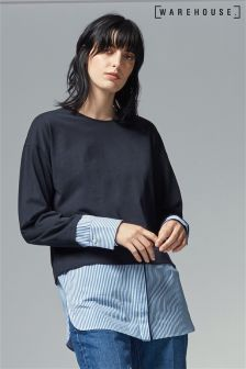 Warehouse Navy Poplin Hem Top