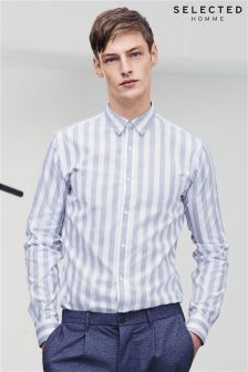 Selected Homme White Vertical Striped Shirt