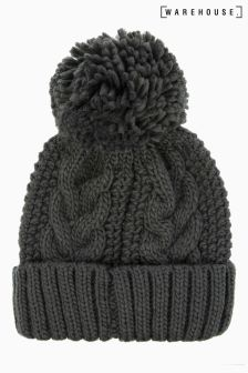 Warehouse Charcoal Cable Knit Hat