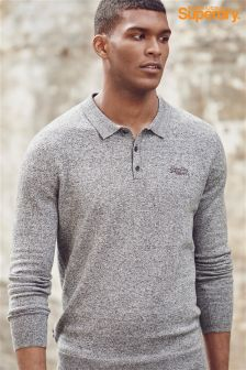 Superdry Grey Marl Long Sleeve Knit Poloshirt