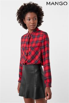 Mango Black Faux Leather Skirt