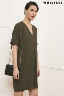 Whistles Khaki Josie V-Neck Casual Dress