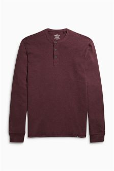 Long Sleeve Marl Grandad Top
