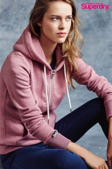 Superdry Pink Orange Label Luxe Edition Zip Hoody