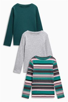Long Sleeve Rib Tops Three Pack (3-16yrs)
