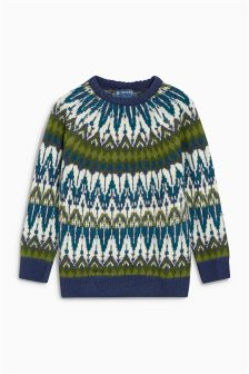 Pattern Knitted Crew Jumper (3-16yrs)