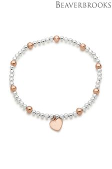Plated Ball Heart Charm Bracelet