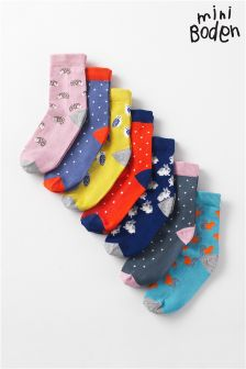 Boden Multi Pattern Seven Pack Sock Box