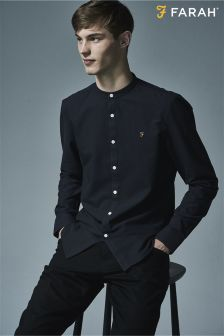 Farah Navy Slim Fit Collarless Oxford Shirt