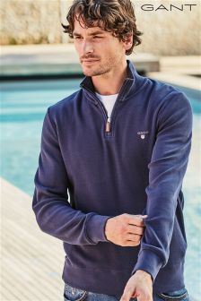 Gant Blue Zip Neck Sweatshirt