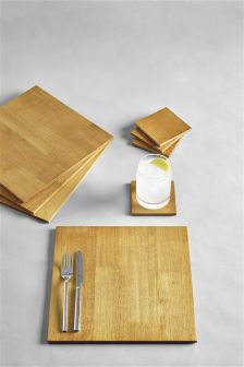 Set Of 8 Wooden Mats And Coasters