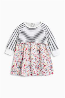 Stripe And Print Mix Dress (0mths-2yrs)