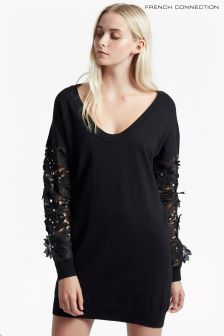 French Connection Black Manzoni Lace Jumper Dress
