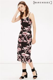 Warehouse Black Oriental Print Silk Cami Dress