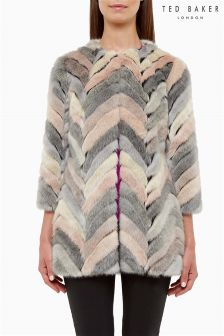 Ted Baker Chevron Faux Fur Jacket