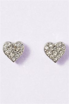 Silver Tone Crystal Effect Heart Stud Earrings