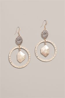 Metal And Jewelled Drop Earrings