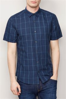 Window Pane Short Sleeve Linen Blend Shirt