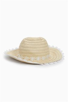 Broderie Edge Floppy Hat (Younger Girls)