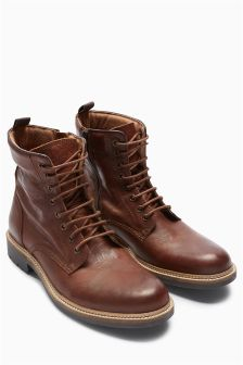 Leather Padded Collar Zip Boot