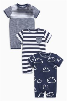 Cloud And Stripe Short Leg Rompers Three Pack (0mths-2yrs)
