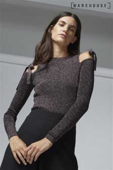 Warehouse Pink Sparkle Tie Shoulder Jumper