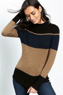 Colourblock Funnel Neck Sweater