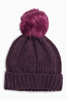 Rib Beanie With Pom (Older Girls)