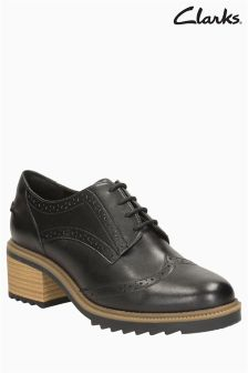 Clarks Leather Balmer Beller Heeled Brogue