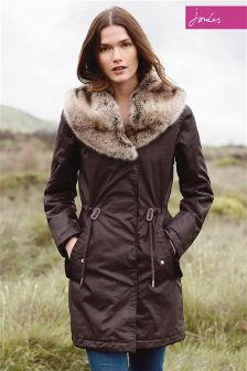 Joules Swanson Brown Finch Faux Fur Collar Longline Parka