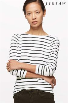 Jigsaw Midnight Grey Retro Stripe T-Shirt