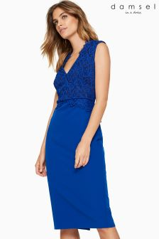 Damsel In A Dress Blue Lace Bodice Dress
