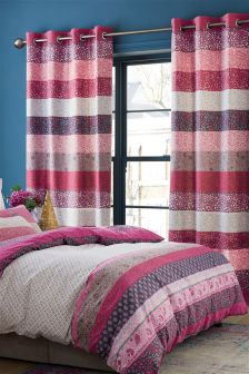 Paisley Woodblock Eyelet Curtains