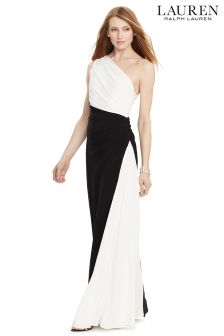 Lauren Black/White Abbyanne Two Tone Evening Dress