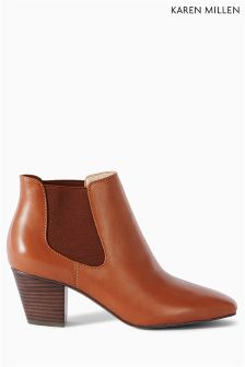 Karen Millen Tan Cuban Heel Boot