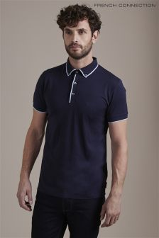 French Connection Navy Tipped Poloshirt