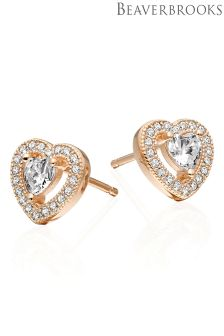 Beaverbrooks Silver Rose Gold Cubic Zirconia Heart Earrings