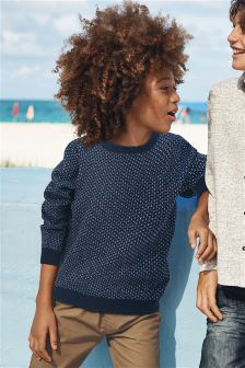 Brick Stitch Longline Crew (3-16yrs)